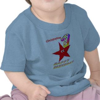 Skjorta för födelsedag för röd Smileystjärna 1st Tee Shirts