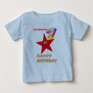 Skjorta för födelsedag för röd Smileystjärna 1st Tee