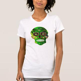 Skjorta för ogräs för day of the deadsockerskalle t shirt
