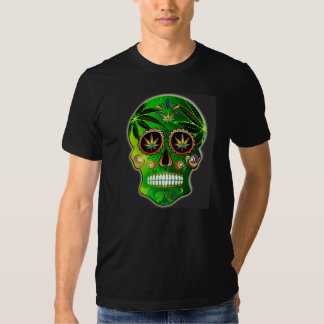 Skjorta för ogräs för day of the deadsockerskalle tee shirts