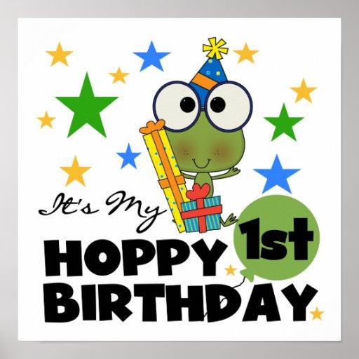Skjortor och gåvor för födelsedag T för Hoppy grod Affisch