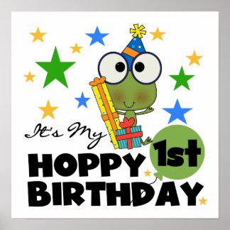 Skjortor och gåvor för födelsedag T för Hoppy grod Poster
