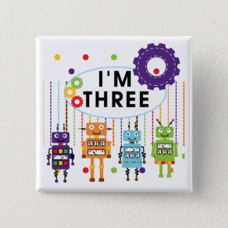 Skjortor och gåvor för födelsedag T för robot 3rd Standard Kanpp Fyrkantig 5.1 Cm