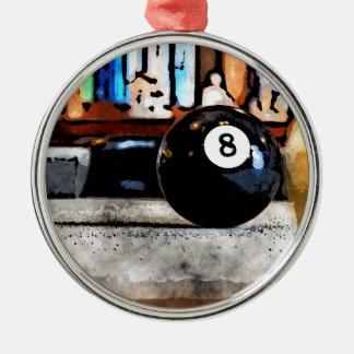 Skjuta för bollen åtta rund silverfärgad julgransprydnad