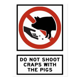 Skjuta inte skitar med grisarna som huvudvägen vykort