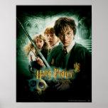 Skjuten Harry Potter Ron Hermione Dobbygrupp Affisch