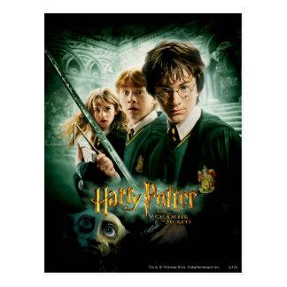 Skjuten Harry Potter Ron Hermione Dobbygrupp Vykort