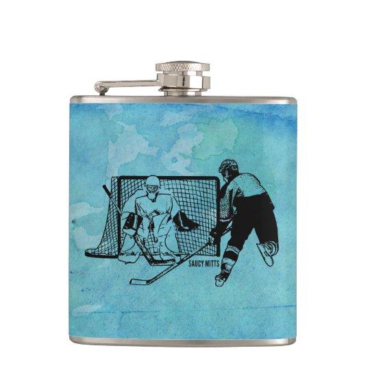Skjutit på netto hockey skissa på blåttvattenfärg fickplunta