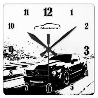 Skjutit rullande för Mustang Fyrkantig Klocka