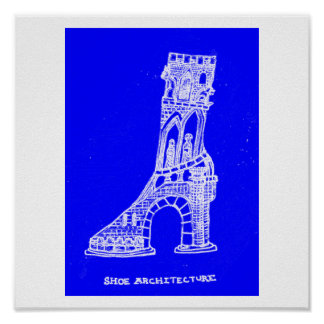 Sko arkitekturtrycket (ritningstil) poster