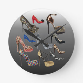 Sko högklackar som Collage skräddarsy Rund Klocka