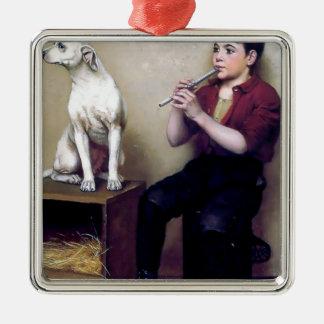 Sko skenpojken som leker flöjten och hans hund julgransprydnad metall
