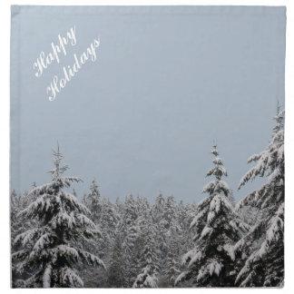 Skog för vinter för glad helgservettpersonlig tygservett