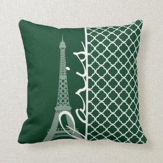 Skog gröna marockanska Quatrefoil; Paris Kudde