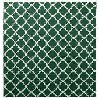 Skog gröna marockanska Quatrefoil Tygservett