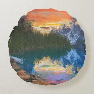 Skog sjö rund kudde
