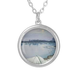Skog sjö silverpläterat halsband