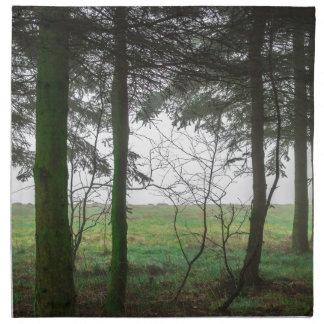 Skog som förbiser röjning i dimman tygservett