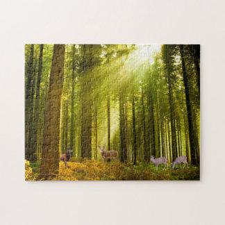Skogen och hjort avbildar pussel
