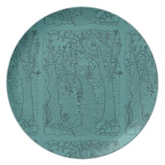 Skogen strömmer fodrar konstdesign tallrik