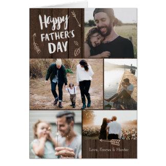 Skogs- fars dagkort för 5 foto hälsningskort