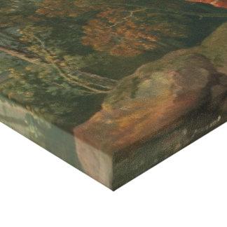 Skogsbevuxen George Barret - landskap med en pojke Canvastryck