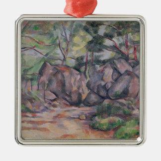 Skogsmark med stenblock, 1893 julgransprydnad metall