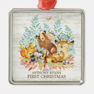 Skogsmarkdjurbaby första prydnad för jul julgransprydnad metall