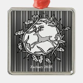 Skogsmarkhjort i en grenkran - prydnad julgransprydnad metall
