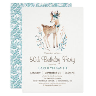 Skogsmarkhjortfödelsedagsfest inbjudan
