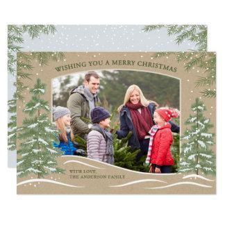 SkogSnowfalljulkort Kraft 12,7 X 17,8 Cm Inbjudningskort