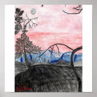 Skogsolnedgångtryck av Julia Hanna Poster
