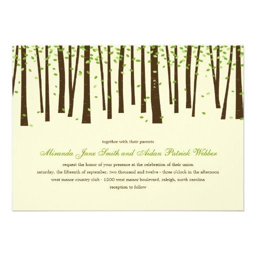 Skogträd som gifta sig inbjudningar - grönt