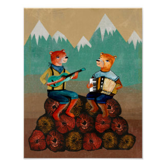Skogvaktare - två björnar som leker musik poster