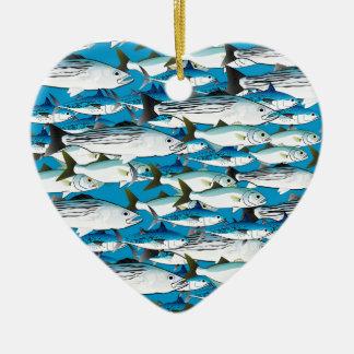 Skola av atlantisk surfafisk i blått julgransprydnad keramik