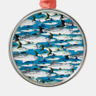 Skola av atlantisk surfafisk i blått julgransprydnad metall