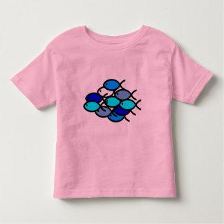 Skola av kristna fisksymboler - blått - t-shirt