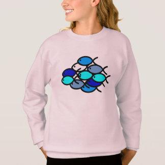 Skola av kristna fisksymboler - blått - tröja