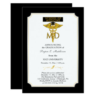 Skola av studenten för läkare för medicindoktor | 12,7 x 17,8 cm inbjudningskort