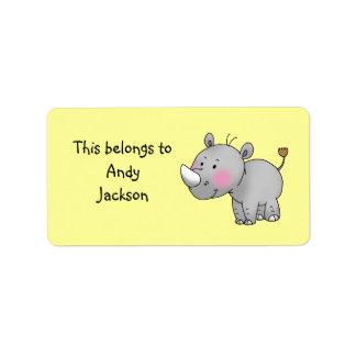 Skola etiketter (noshörningen) adressetikett