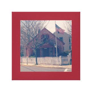 Skola huset i gammalt foto canvastryck