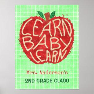 Skola lärare som klassrumet Apple | lärer namn för Poster