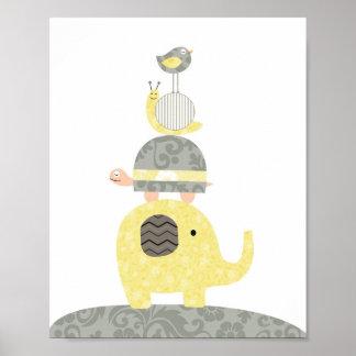 Sköldpadda för fågel för elefant för barnkammareko affisch