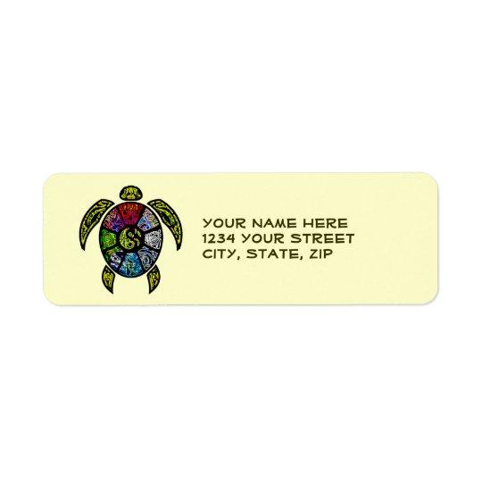Sköldpaddaba-Gua Returadress Etikett