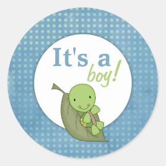 Sköldpaddablåttpolkaen pricker baby shower runt klistermärke
