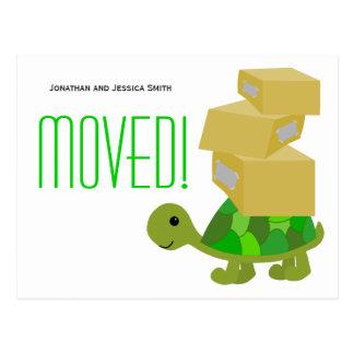 Sköldpaddaflyttan boxas den nya adress vykortet vykort