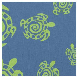 Sköldpaddagrönt- och blåtttryck tyg