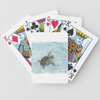 Sköldpaddavattenfärgmålning Spel Kort