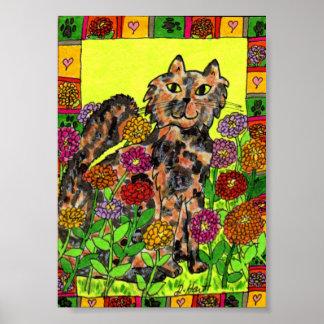 Sköldpadds- katt med mini- Folk konst för Zinnias Poster
