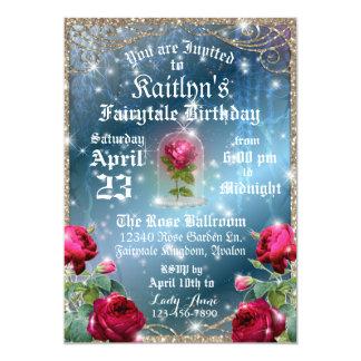 Skönhet och den förtrollade födelsedagen för 12,7 x 17,8 cm inbjudningskort